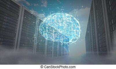 cerveau, hologramme, humain