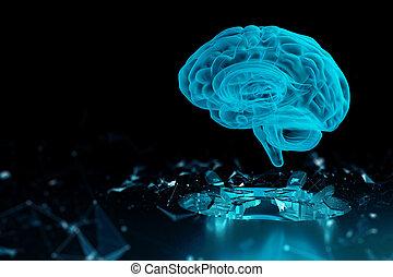 cerveau, hologramme, render, technologie, 3d