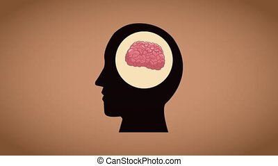 cerveau, humain, animation, dessin animé, hd