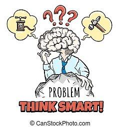 cerveau humain, dans, pensée, processus