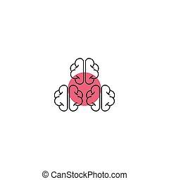 cerveau, icône, storming, minimal