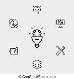 cerveau, icône, vecteur, symbole, signe