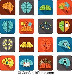 cerveau, icônes, ensemble, plat