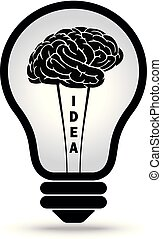 cerveau, idée, ampoule, lumière