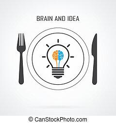 cerveau, idée, fond, ampoule, créatif, lumière, concept