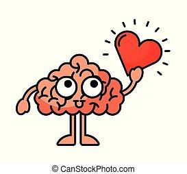 cerveau, illustration, coeur