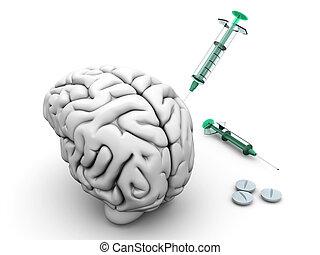 cerveau, injection