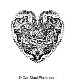 cerveau, mécanique, coeur