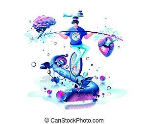 cerveau, main, coeur, équilibre, cirque, équilibre,...