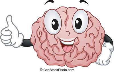 cerveau, mascotte, à, ok, handsign