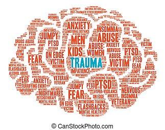 cerveau, mot, trauma, nuage