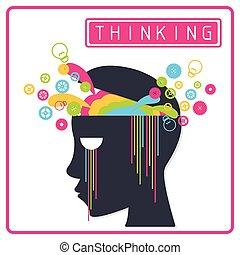 cerveau pensée, coloré, créatif