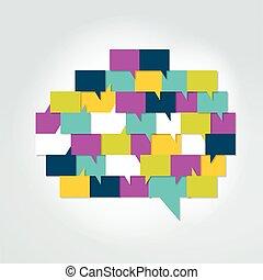 cerveau, pensée, concept., forme., bubbles., parole, humain