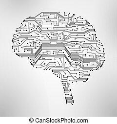 cerveau, planche, eps10, circuit, formulaire