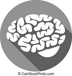 cerveau, plat, humain, icône