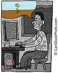 cerveau, programmeur, travail, humain