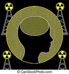 cerveau, radiation, humain