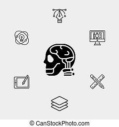 cerveau, signe, symbole, icône, vecteur