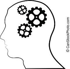 cerveau, silhouette, engrenages