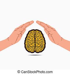 cerveau, sous, assurer, main