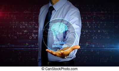cerveau, symbole, hologramme, cybernétique, homme affaires