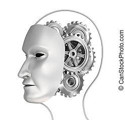 cerveau, tête, engrenages, illustration, 3d