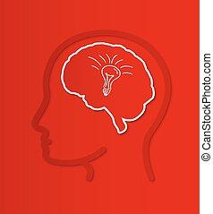 cerveau, tête, humain, ampoule