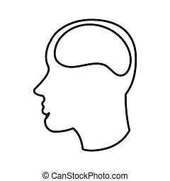 cerveau, tête, humain, icône