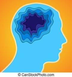 cerveau, tête, papier, humain