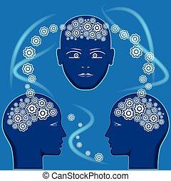 cerveau, têtes, engrenages, formulaire, gens