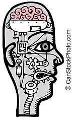 cerveau, travail, humain