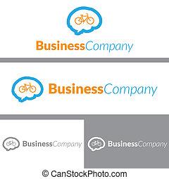 cerveau, vélo, conception, logo