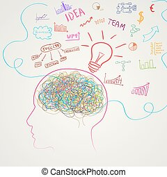 cerveau, vecteur, business, icons.