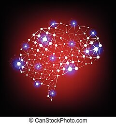 cerveau, vecteur, humain, fond