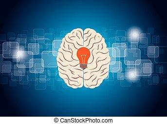 cerveau, vecteur, idée