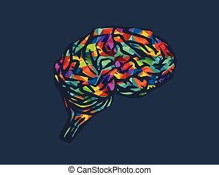 cerveau, vecteur, illustration, icône