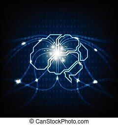 cerveau, vecteur, technologie, function.