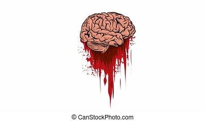 cerveau, vidéo, sanguine, flaque