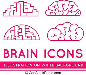 cerveaux, différent, styles., icônes