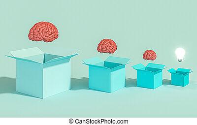 cerveaux, lumière, bulb., lit, humain, boîtes