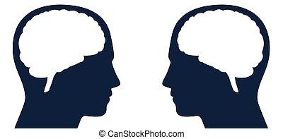 cerveaux, pensées, communication