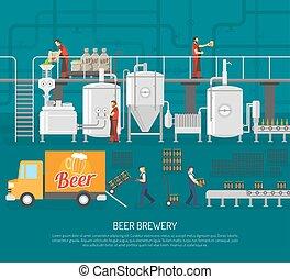 cervecería, ilustración, cerveza