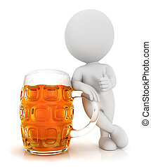 cerveja, 3d, gostar, branca, pessoas