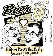 cerveja, arte, clip