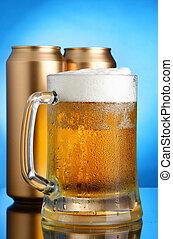 cerveja assalta, e, latas