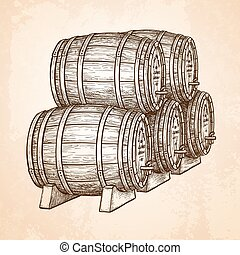 cerveja, barrels., ou, vinho