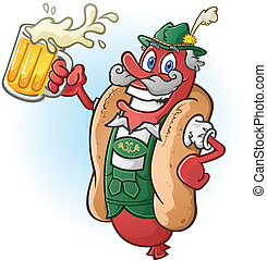 cerveja, bratwurst, caricatura, hotdog