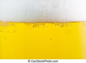 cerveja, com, espuma, fundo, cima