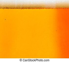 cerveja, com, espuma, macro