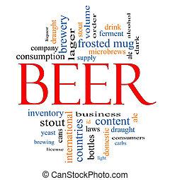 cerveja, conceito, palavra, nuvem